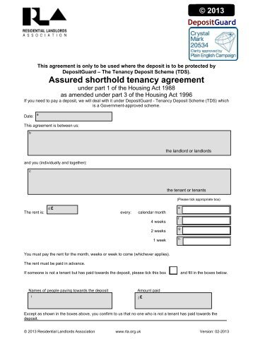 Assured Shorthold Tenancy Agreement Personal Home Pages At