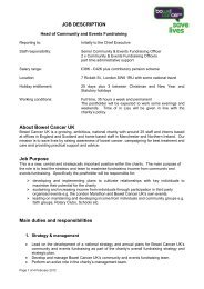 JOB DESCRIPTION About Bowel Cancer UK Job Purpose Main ...