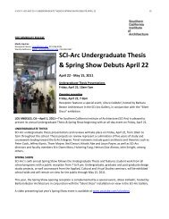 SCI-Arc Undergraduate Thesis & Spring Show Debuts April 22