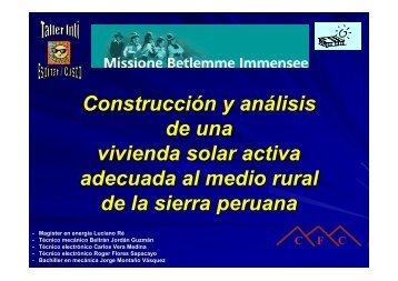 Casa solar Espinar - Asociación Peruana de Energía Solar y del ...