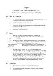 Satzung des Vereins der Förderer und Freunde des ZZF e. V.