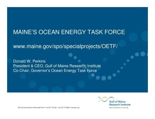 MAINE'S OCEAN ENERGY TASK FORCE