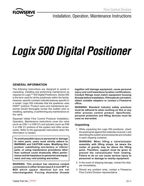 Valtek Logix 500 Digital Positioner pdf - PRO-QUIP