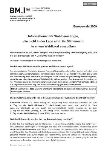 Informationen für Wahlberechtigte die nicht in der Lage ... - Hartkirchen