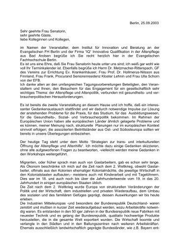 Begrüßung und Einführung ins Thema - Berlin Brandenburger ...