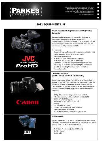 2012 EQUIPMENT LIST - Parkes Productions Ltd
