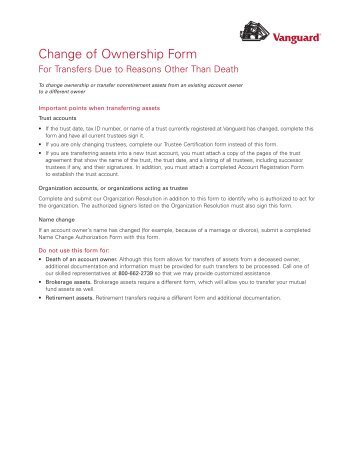 Change of Ownership of Brokerage Assets Due to Death to an ...
