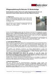 Pflegeempfehlung für Belcolor CV Bodenbeläge - Rent-a-Shop