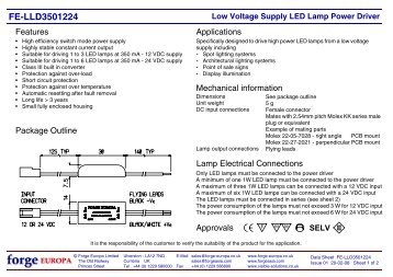 Low Voltage Supply LED Lamp Power Driver - Forge Europa