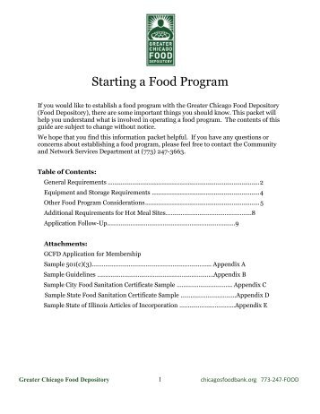 So you want to start a food Pantry - Greater Chicago Food Depository