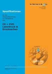 CD + DVD Labeldruck & Drucksachen Spezifikationen - Erzschlag