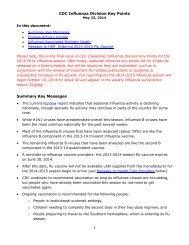 MAY 27 2014 - CDC Influenza Key Points May 23 2014