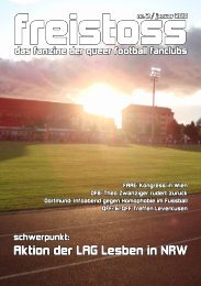 Aktion der LAG Lesben in NRW - Queer Football Fanclubs