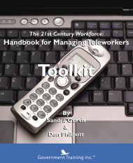 Excerpt from Managing Teleworkers Handbook Toolkit. Introduction