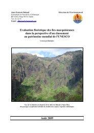 Evaluation floristique des îles marquisiennes dans la perspective d ...