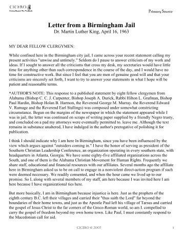 Letter from Birmingham Jail Overheads pdf Phil112