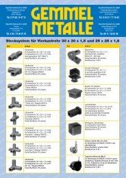 Stecksystem für Vierkantrohr 30 x 30 x  1,5 und 25 ... - Gemmel Metalle