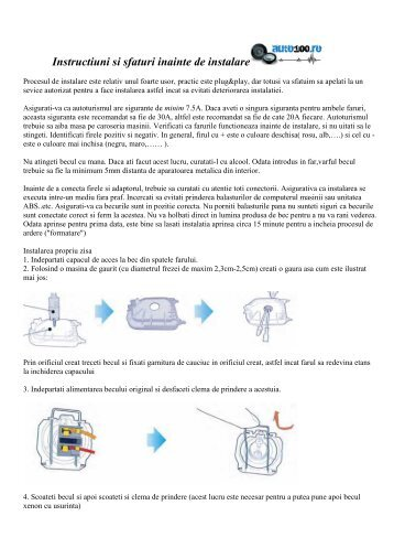 Instructiuni si sfaturi inainte de instalare XENON - Auto100.ro