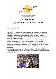 17 MARS 2013 QUARANTES DEUX PRINTEMPS! - Club Athlétique ...