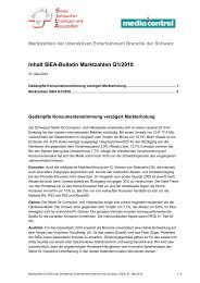 Inhalt SIEA-Bulletin Marktzahlen Q1/2010
