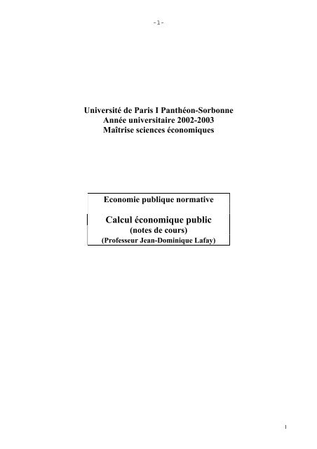 Calcul économique public - Centre d'Économie de la Sorbonne