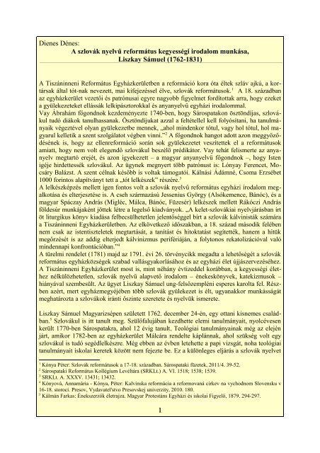 Liszkay Sámuel - Sárospataki Református Teológiai Akadémia