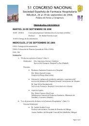 Programa científico - Sociedad Española de Farmacia Hospitalaria