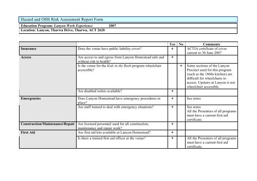 Risk Essment Report | Page 1 Hazard And Ohs Risk Assessment Report Form Education