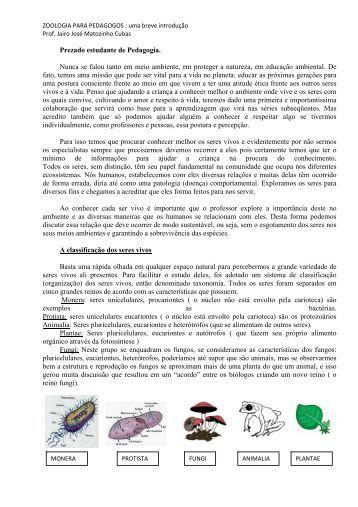 Zoologia para o curso de Pedagogia - Jairo J. Matozinho Cubas