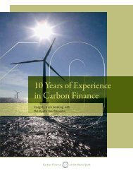 10 Years of Experience in Carbon Finance - World Bank Internet ...