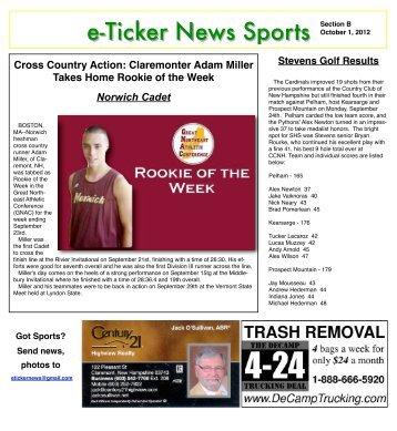 e-Ticker News Sports Section B - e-Ticker News of Claremont, NH