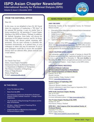 ISPD Asian Chapter Newsletter - International Society for Peritoneal ...