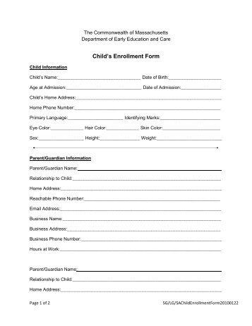 child care enrollment form template - 28 images - sle enrollment ...