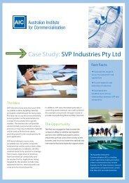 Case Study: SVP Industries Pty Ltd - The Australian Institute for ...