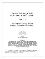 kindergarten scoring booklet dibels benchmark assessment - Dibels Testing Kindergarten