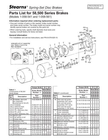 Parts List for 58500 Series Brakes - Stearns - Rexnord  sc 1 st  Yumpu : stearns brake coil wiring - yogabreezes.com