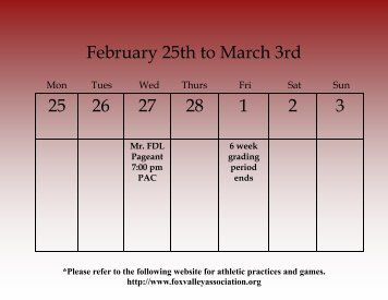 Weekly Calendar - Fond du Lac School District