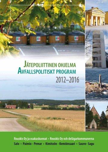 Jätepoliittinen ohjelma 2012-2016 - Kimitoön kommun