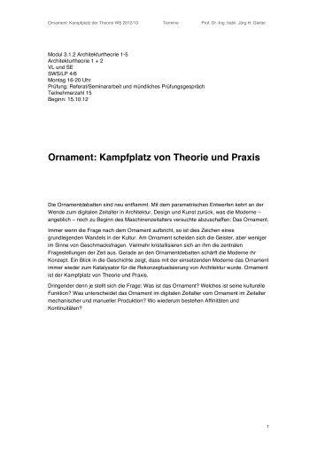 Ornament: Kampfplatz von Theorie und Praxis - Architekturtheorie
