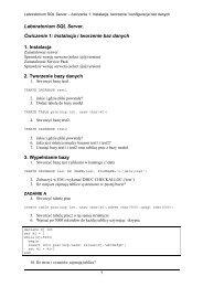 Laboratorium SQL Server. Ćwiczenie 1: Instalacja i tworzenie baz ...