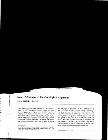 IC2 A Critique of the Ontological Argument
