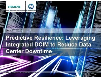 Leveraging Integrated DCIM to Reduce Data Center ... - Siemens