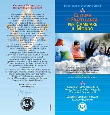 Programma Equinozio di Autunno 2013 - Grande Oriente d'Italia