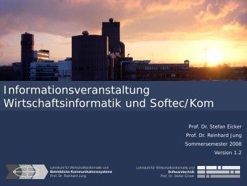 Lehre - Lehrstuhl für Wirtschaftsinformatik und Softwaretechnik