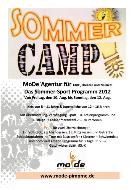 Das Sommer-Sport Programm 2012 - MoDe. Tanz . Theater & Musical