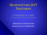 Acute DVT - Columbia Presbyterian Department of Surgery