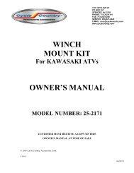 owners manual cc25-2171 - winch mounting kit kaw - Schuurman B.V.