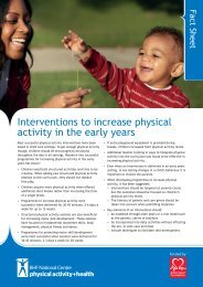 Interventions to increase physical activity in the early years