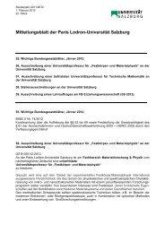 Mitteilungsblatt der Paris Lodron-Universität Salzburg
