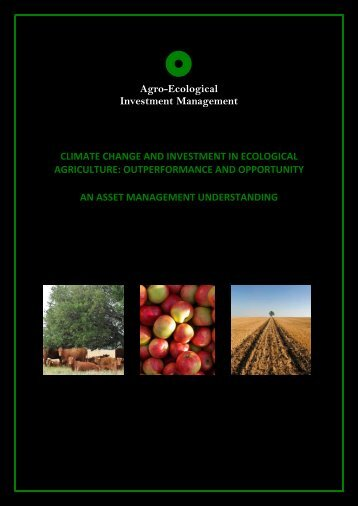 Climate Change and Investment in Ecological Agriculture
